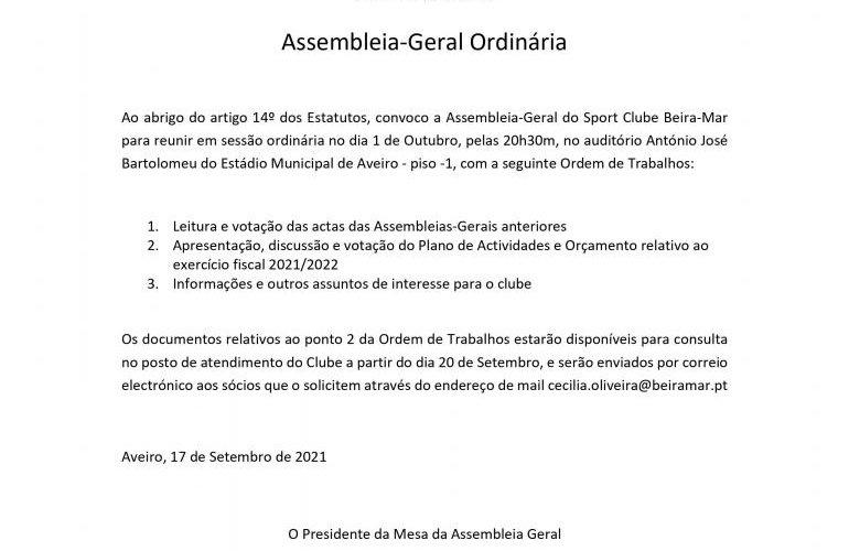 Assembleia-Geral no próximo dia 1 de outubro
